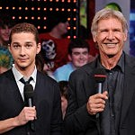 Shia LaBeouf and Harrison Ford