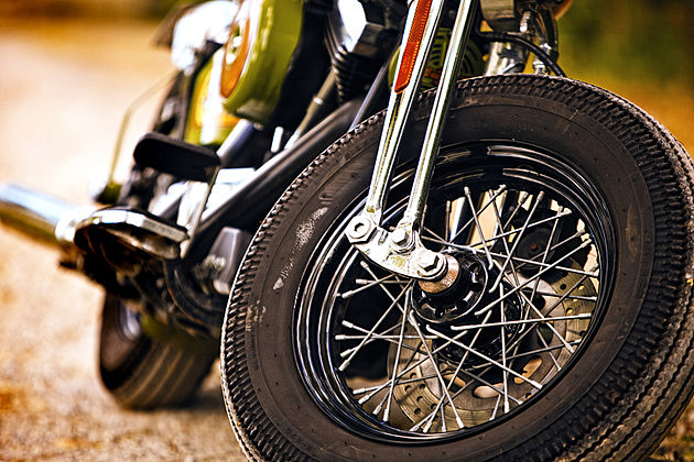 Vintage motorcycle front view