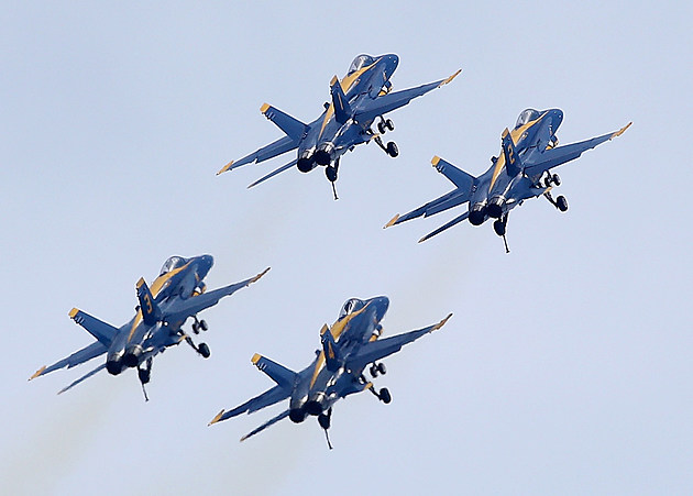 Blue Angels Practice Flyovers Around Naval Academy In Annapolis